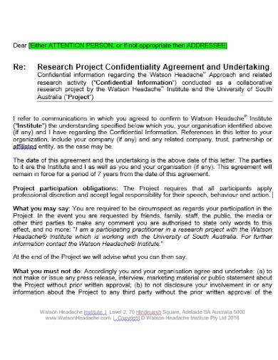 research project confidentiality agreement