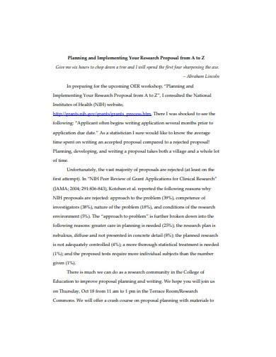 research proposal implementation plan