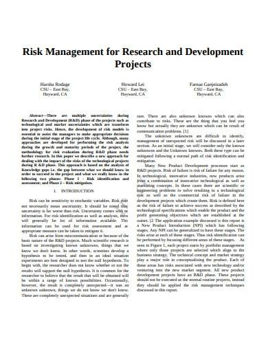 research and development project plan