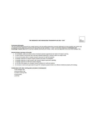 research and knowledge transfer plan