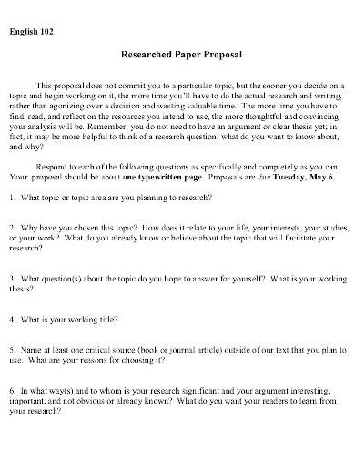 researched paper proposal