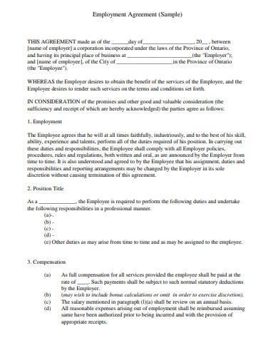 restaurant employment agreement sample