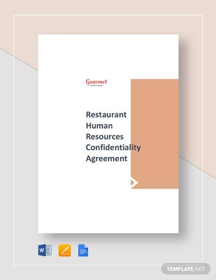 restaurant human resources confidentiality agreement template