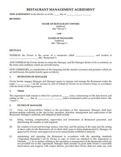 restaurant management agreement