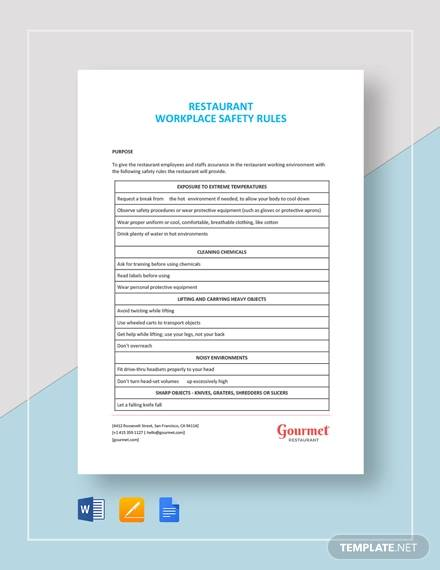 restaurant workplace safety rules template