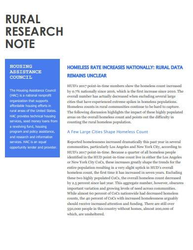 rural research note template