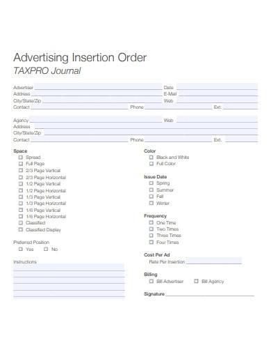 sample advertising insertion order