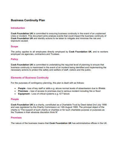 sample business continuity plan