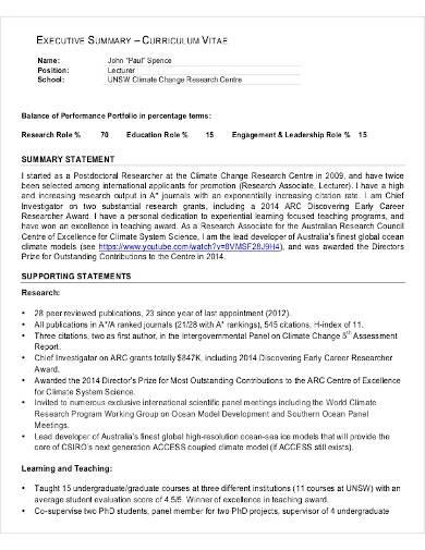 sample cv executive summary