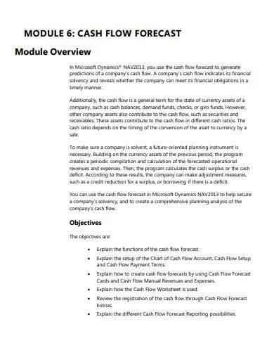 sample cash flow forecasting template
