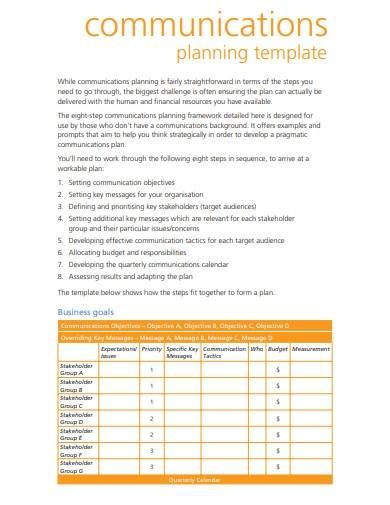 sample charity communication plan