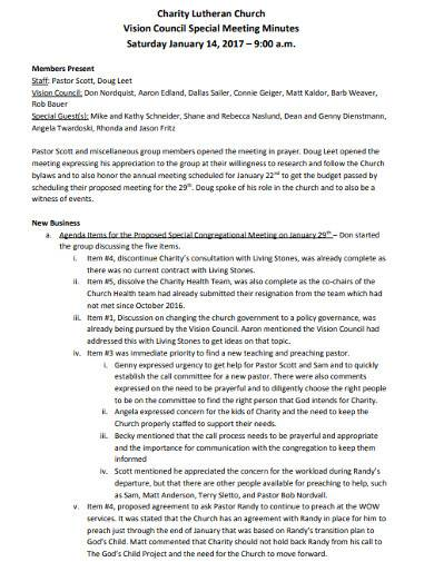 sample charity council meeting minutes