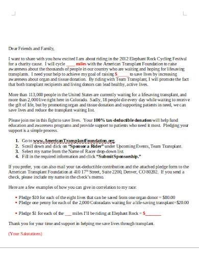 sample charity fundraising letter