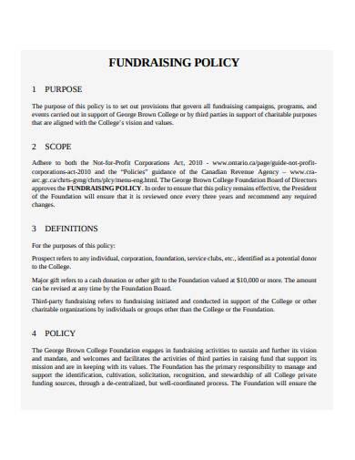 sample charity fundraising policy
