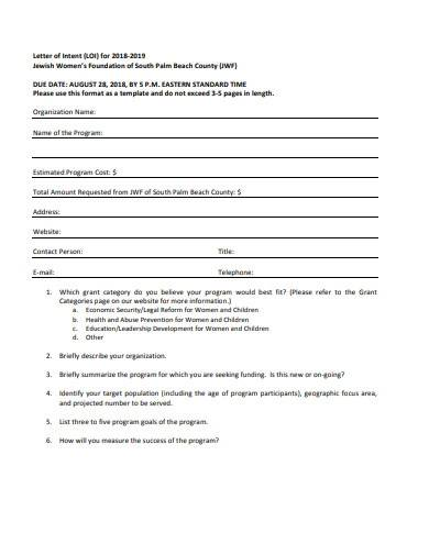 sample charity letter of intent template
