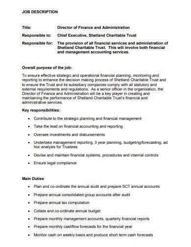 sample charity manager job description