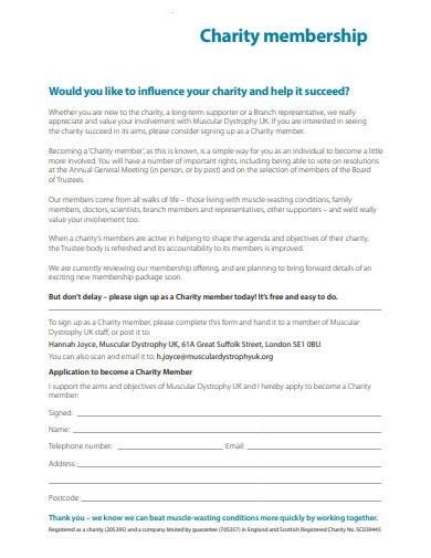 sample charity membership application form