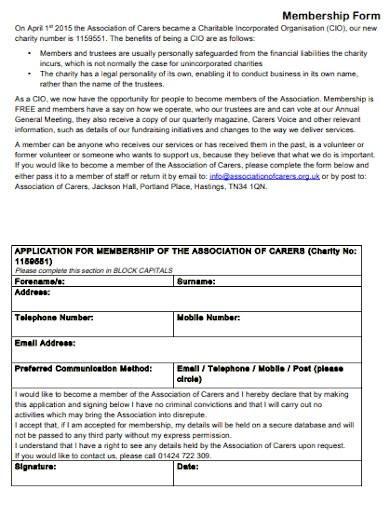 sample charity membership form