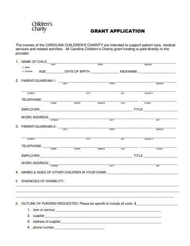 sample children charity grant application