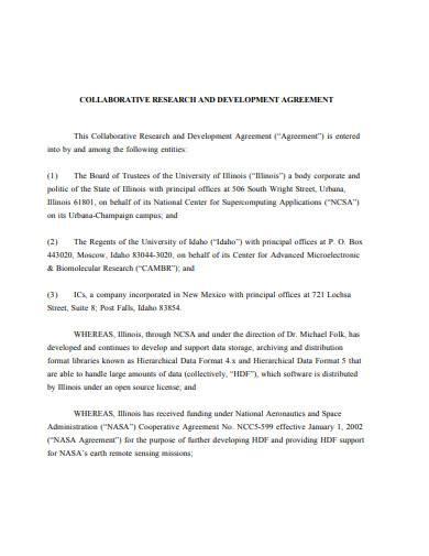 sample collaborative research development agreement