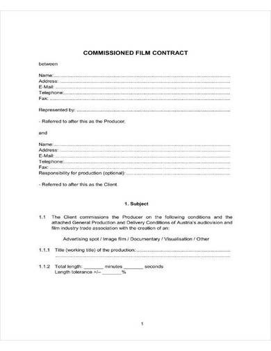 sample commissioned film contract