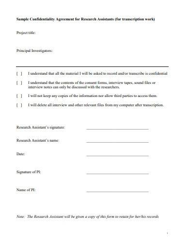 sample confidentiality agreement for research assistant