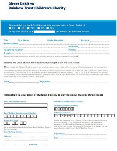 sample direct debit charity trust form