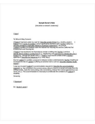 sample doctor's note