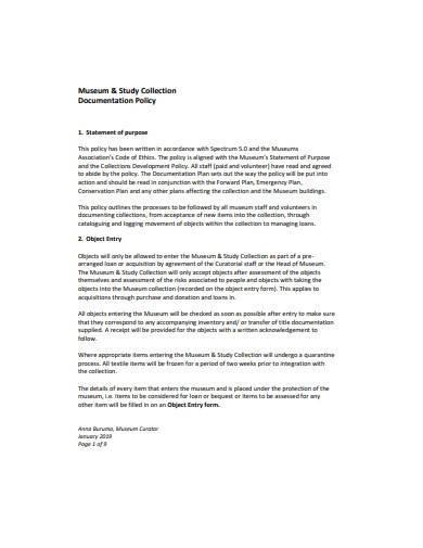 sample documentation policy plan