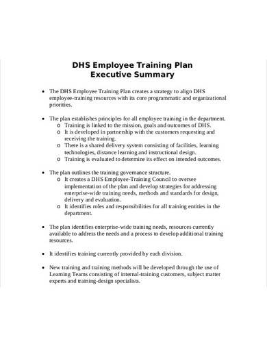 sample employee training plan summary