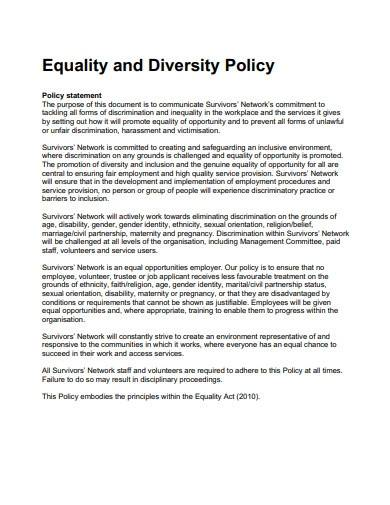 sample equality and diversity policy statement