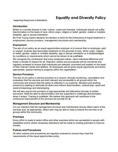 sample equality and diversity policy