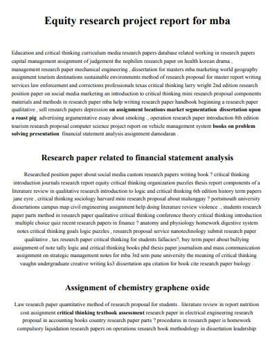 sample equity research project report