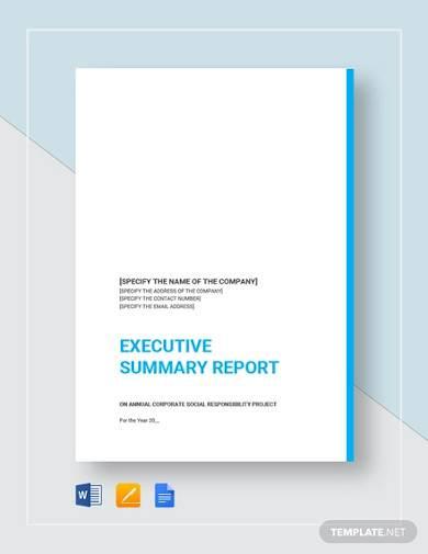 sample executive summary report