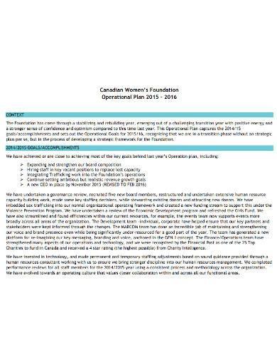 sample foundation operational plan template