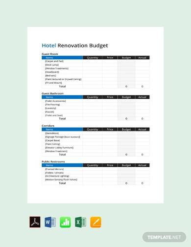 sample free hotel renovation budget