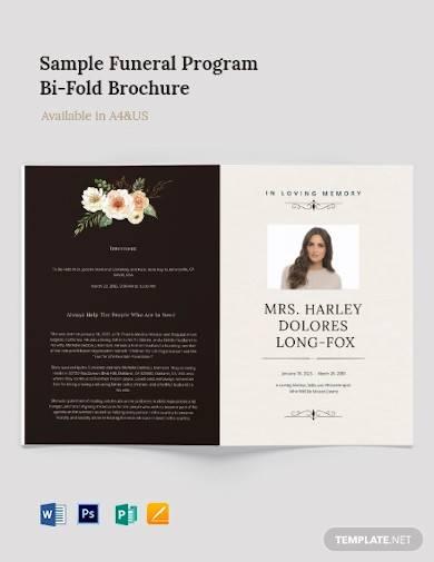 sample funeral program bi fold brochure
