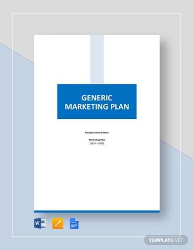 sample generic marketing plan