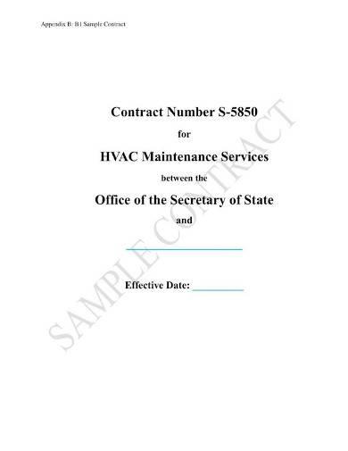 sample hvac maintenance service