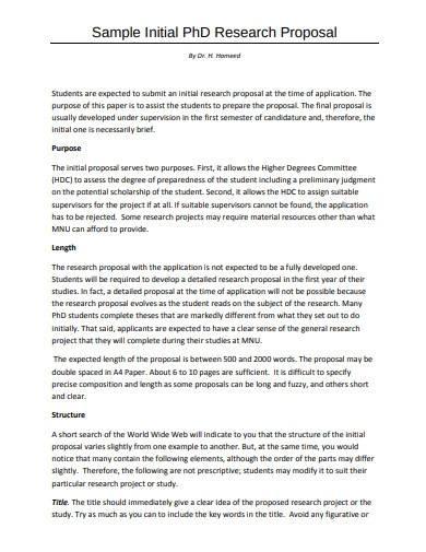 sample initial research proposal plan