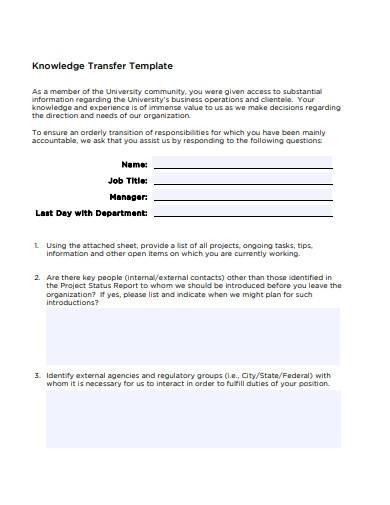 sample knowledge transfertemplate