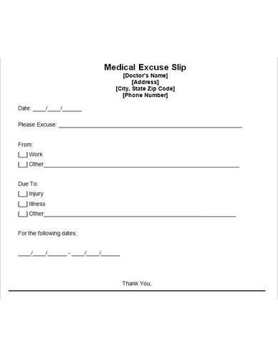 sample medical excuse slip