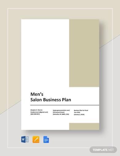 sample mens salon business plan
