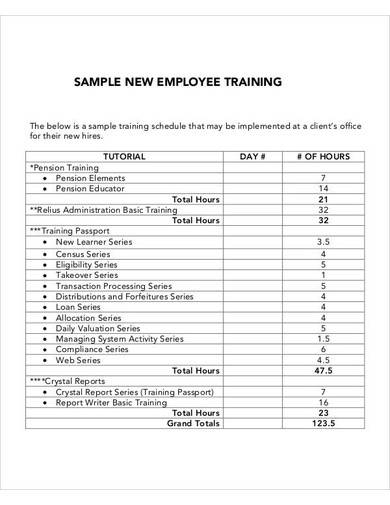sample new employee training