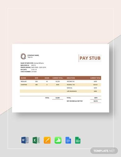sample pay stub template