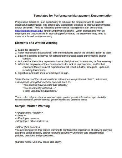 sample performance management documentation