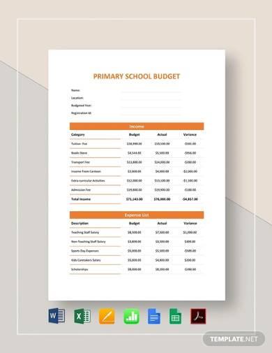 sample primary school budget