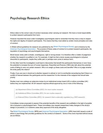 sample psychology research ethics