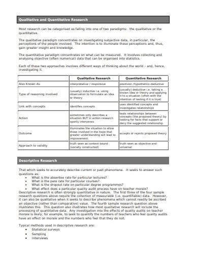sample qualitative and quantitative research