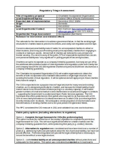 sample regulatory triage assessment